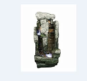 Two Fall Rock with Brick Led Lit Garden Water Feature