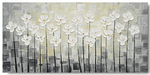 (Yihui Arts Wall Art Pallet Knife Pictures Painting White Lily Bouquet of Flowers Oil Painting Floral Artwork Print on Wrapped Canvas for Walls (24Wx48L))