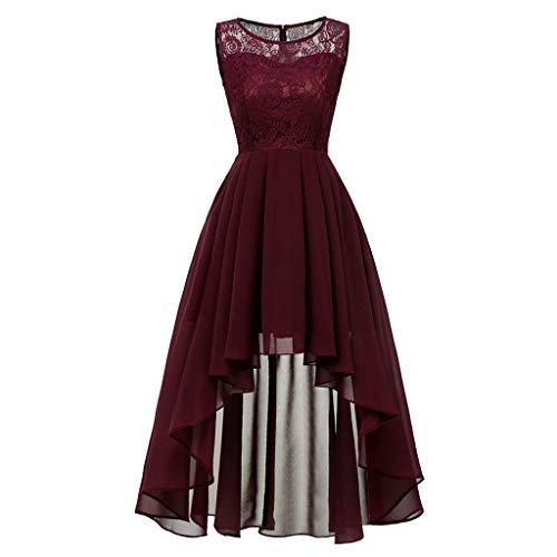 ❤️Sumeimiya Womens Vintage Princess Dress, Lace Floral Cocktail Dress Neckline Party Aline Swing Dress Elegant Popular Dress Red