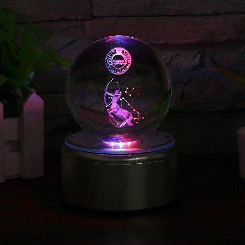 3D Crystal Ball Constellation Gift LED Lighting Astronomy Nebula 7 Colors Optical Illusion 3D Lamp Laser Engraving Valentine Children's Day (Sagittarius)