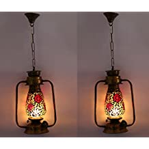 Somil Antique Pendant Hanging Lantern Lamp Light With Hand Decorative Colorful & Ornament Glass Perfect Match Of Trend And Traditional (Set Of Two) Ax55