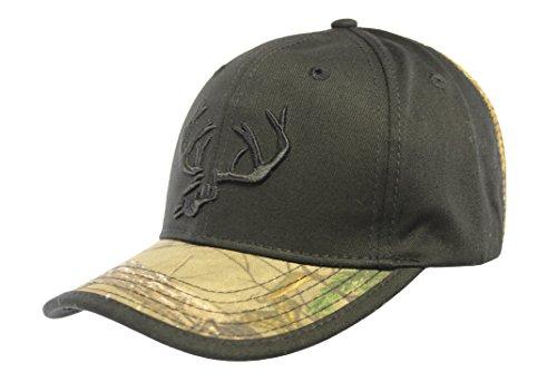 Realtree Camo Whitetail Deer Skull Antlers Cap Black Realtree Camo Deer Skull Hat with mesh back Deer Logo Cap