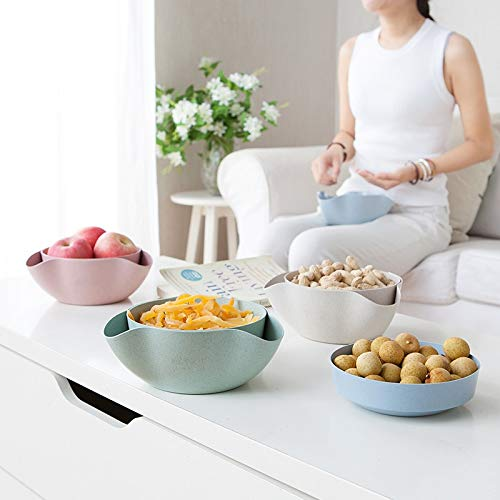 Candy Compote - Lannmart Wheat Straw Layers Eco-Friendly Fruit Candy Snack Double Dishes Plastic Creative Nut Compote Holder Tray Home Table Decoration