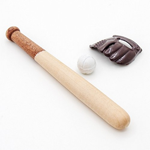 Odoria 1:12 Miniature Baseball Set- Bat Ball Glove Dollhouse Decoration (Miniature Baseball)
