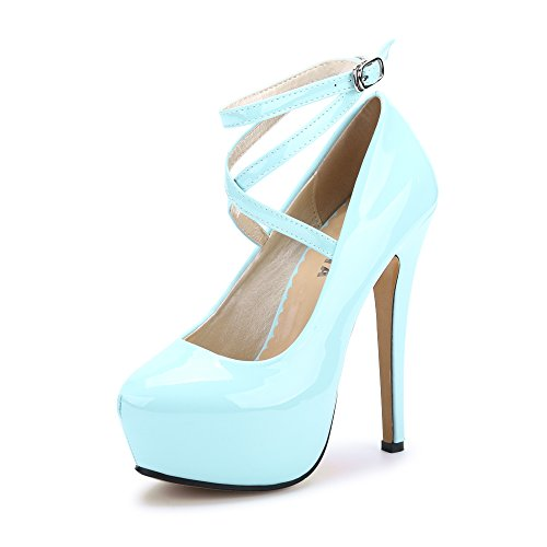 ce61bfadd45 OCHENTA Women s Ankle Strap Platform Pump Party Dress High Heel  10 PU Sky  Blue Tag