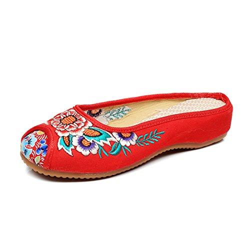 Slip Slipper Rot Stickerei Slipper Damenschuhe On Schuhe YIBLBOX Sunflower Traditionelle R4wZqx0X