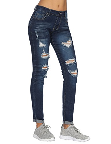 Blue Denim Pencil ripped Fit Trousers Stretchy Women's Time Waisted Skinny High Tiffley Jeans Slim Tube EBOR6qaWP