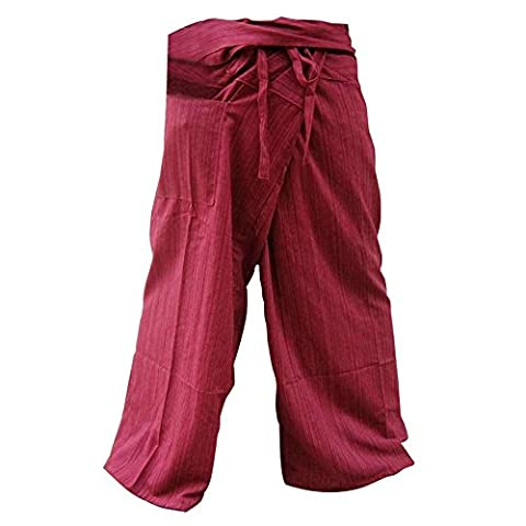 Thai Fisherman Pants Yoga Trousers Free Size Plus Size Cotton Rustic Red Stripe (Oakley Straight Jacket Red)