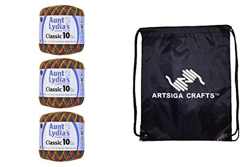 Aunt Lydia's Classic Crochet Thread Size 10 (3-Pack) Mexicana 154-0250 Bundle with 1 Artsiga Crafts Project Bag by Aunt Lydia's Crochet Thread