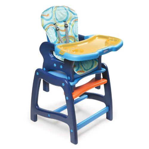 Badger Basket Envee Baby High Chair with Playtable Conversion, Orange/Blue by Badger Basket