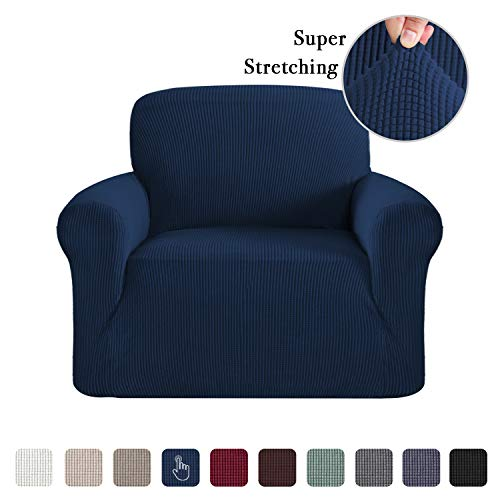 Stretch Jacquard Stretch Sofa Slipcover 1 Piece Sofa Covers Chair Covers for Living Room Skid Resistance Sofa Cover Stylish Form Fitted Furniture Cover Couch Covers for Chair, Navy (Furniture Room Navy Living)