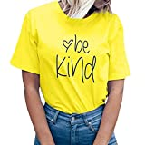 YEZIJIN Women be Kind Letter Print Short Sleeve T-Shirt Tops Blouse Tee 2019 New Under 10 Dollars Yellow