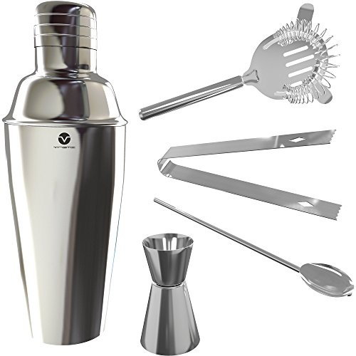 Vremi Bartending Set with Cocktail Shaker - 5 Piece Bartender Kit in Stainless Steel with Martini Strainer - Bar Tools and Supplies also include Ice Tongs Stirrer and Jigger Shot Glass - Silver