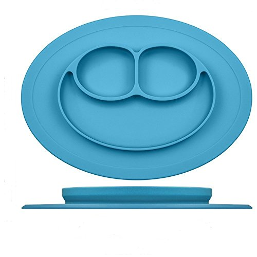 Silicone Placemat for Babies, Toddlers and Kids,Dinner Dish, 100% Food Grade Silicon, BPA Free, Dishwasher Safe, Non-Slip, Portable Roll Up Restaurant Food Mat plate (Blue) (Smiley Baby Face)