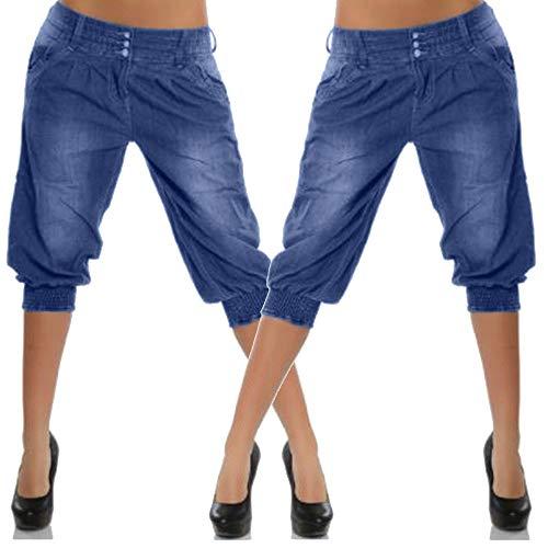 Solide Largeur Couleur de Bleu Femme Large Pantalon Pantalon Bande de Unie Beikoard de pour avec Dcontracts Femmes Large Cowboy Jeans qg8PFFZwR