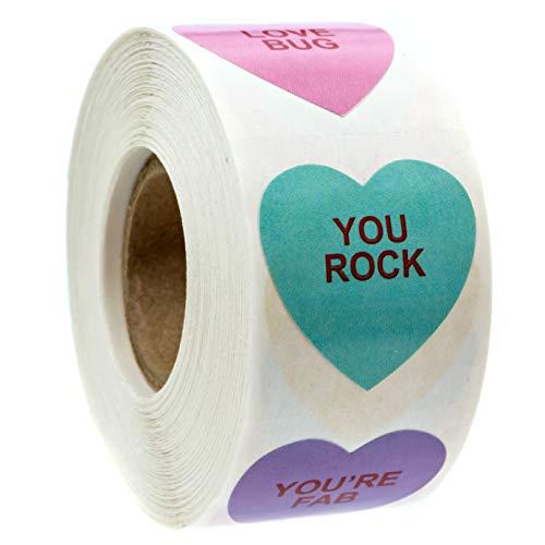 Valentine Candy Heart Stickers / 500 Valentine Stickers / 1 1/8