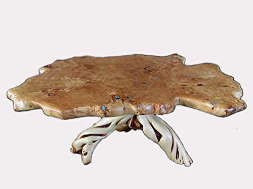 Handmade Rustic Solid Wood Slab Coffee Table with Turquoise Inlay, Made From Burl Cottonwood and Twisted Juniper. Living Room Home Decor