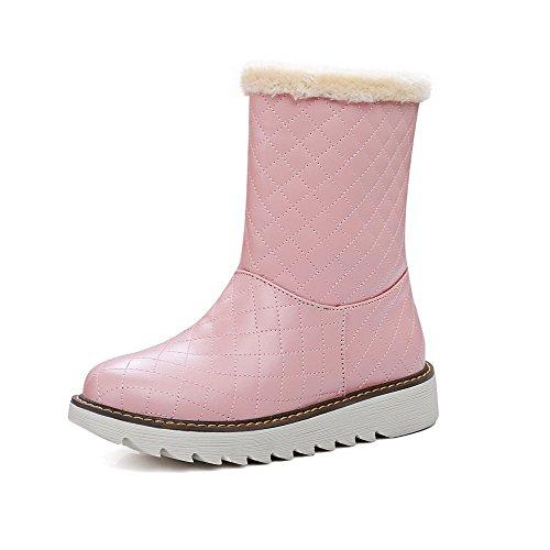 VogueZone009 Damen PU Niedriger Absatz Rund Zehe Ziehen auf Stiefel Pink