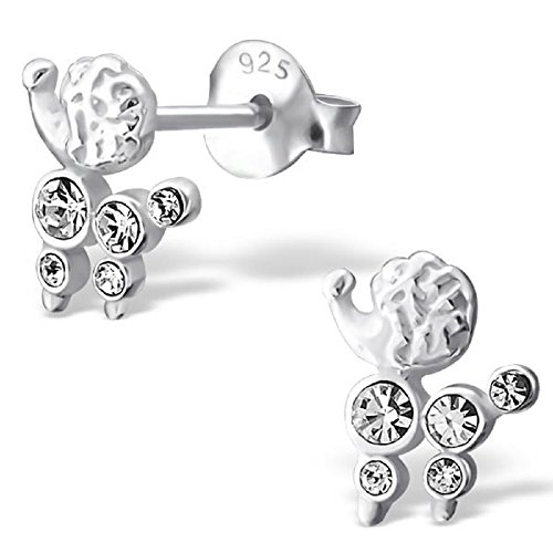 925 Sterling Silver Poodle w/ White Crystal Stud Earrings 17466