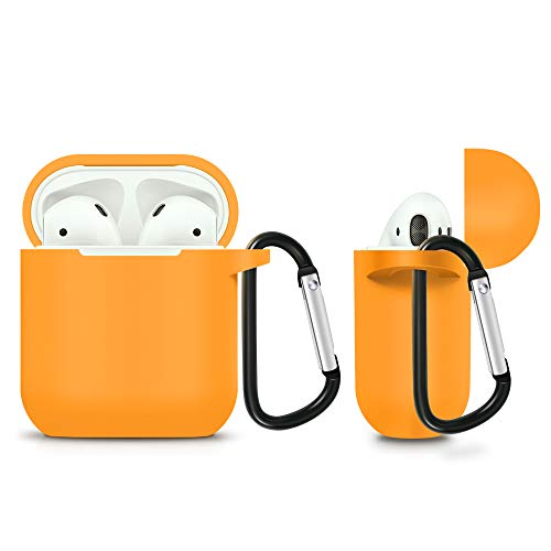 ZALU Compatible for AirPods Case with Keychain, Shockproof Protective Premium Silicone Cover Skin for AirPods Charging Case 2 & 1 (AirPods 1, Orange)