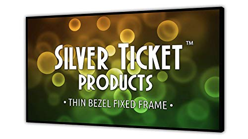 "STT-169106 Silver Ticket Thin Bezel 16:9 Aspect Ratio 4K Ultra HD Ready HDTV (6 Piece Fixed Frame) Projector Screen (16:9, 106"", White Material)"