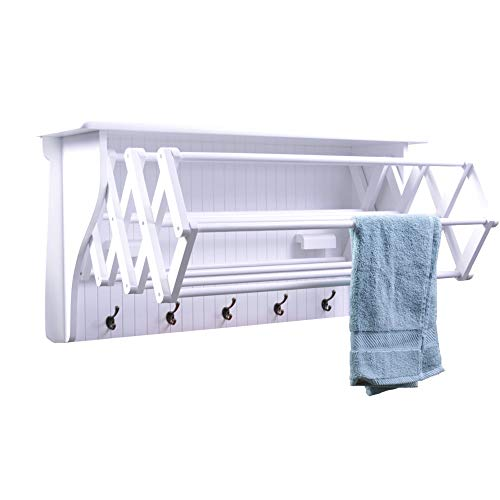 (Danya B Accordion Clothes Drying Rack, Retractable, Wall Mounted, White - Perfect for the Laundry Room)