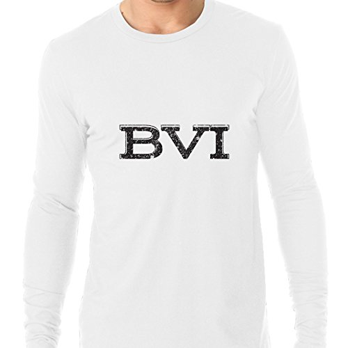Hollywood Thread BVI British Virgin Islands Simple Font Graphic Men's Long Sleeve - Caneel Beaches Bay