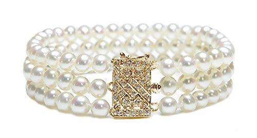 Triple Strand Bracelet Perle de culture d'eau douce blanc 14K or jaune avec diamant fermoir, 17,8cm
