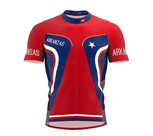 Arkansas Cycling Jersey - ScudoPro Arkansas Bike Short Sleeve Cycling Jersey for Men - Size XL