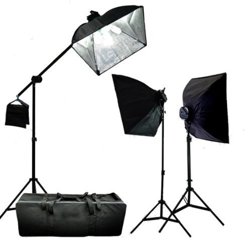 CowboyStudio 3000 Watt Digital Photography/Video Continuous Softbox Lighting Boom Set with Carrying Case - 2 Light stands, 3 Softboxes, 1 Boom Kit, 15 Photo Bulbs (Pack Case 15 Bulb)