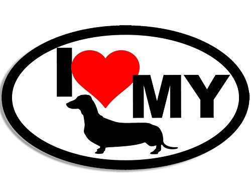 - MAGNET OVAL I Love My Dachshund Magnetic Sticker (heart weener weiner dog)