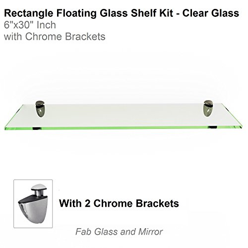 Clear Tempered Glass Shelf - Fab Glass and Mirror Rectangle Floating Clear Tempered Glass Shelf Kit, 6