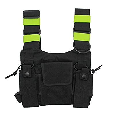 GoodQbuy Universal radio harness chest Rig Bag Pocket Pack Holster Vest Fluorescent green for Two Way Radio (Rescue Essentials) by GoodQbuy®