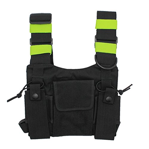 GoodQbuy Universal Radio Harness Chest Rig Bag Pocket Pack Holster Vest Fluorescent Green for Two Way Radio (Rescue Essentials) ()