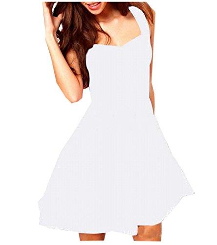 Partito Accettano Mini Solido Bianco Evenning Della Coolred Abito Dell'imbracatura Womens Vita EFnw05Uqw