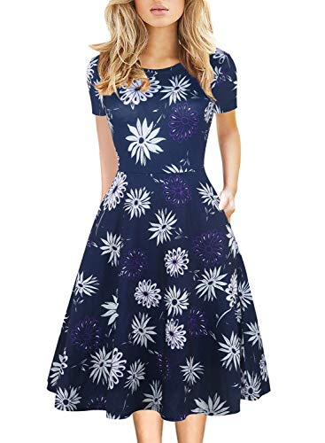 (Women's Vintage Round Neck Floral Casual Pockets Tunic Party Cocktail Cotton Blend A-Line Elegant Dress with Pockets 162 (S, Blue))
