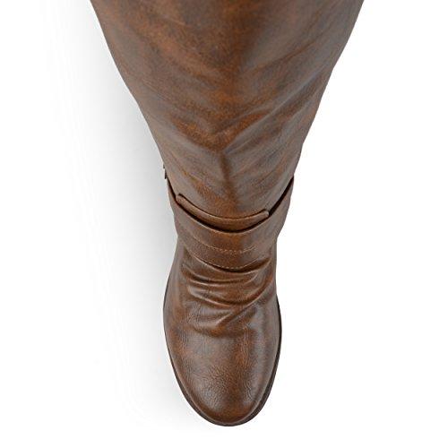 Journee Collection Womens Regular Wide-Kalb und Extra Wide Calf Side Zip Schnalle Kniehohe Reitstiefel Braun