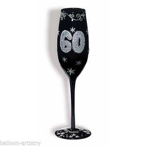 Forum Novelties 66335 60th Birthday Black Wine Glass Flute with Diamonds Gift Party Supplies,