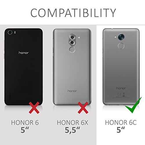 kwmobile Crystal Case Cover for Huawei Honor 6C made of TPU Silicone - transparent clear Protection Case in black transparent