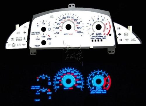 95-99 Chevy Cavalier AT w/ Tach WHITE FACE GLOW GAUGES