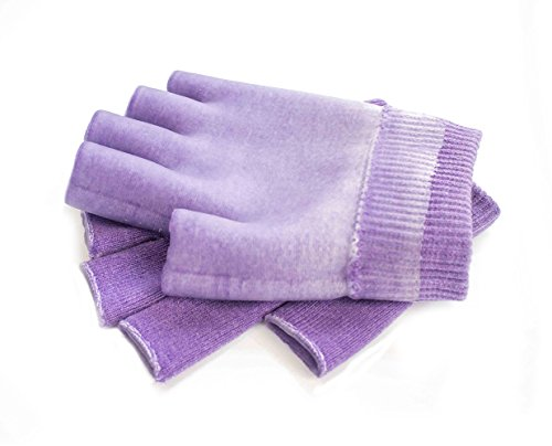 Hocee Moisturizing Gel Gloves Touch Screen Spa Moisture Skin Care Soft Cotton with Gel Repair Heal Eczema Cracked Dry Hand, Gel Lining Infused with Essential Oils and Vitamins, A Pair (Purple) by Hocee (Image #2)