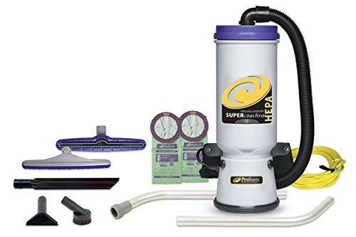 ProTeam Commercial Backpack Vacuum, Super CoachVac Vacuum Backpack with HEPA Media Filtration and Xover Multi-Surface 2-Piece Wand Tool Kit, 10 quart, Corded -