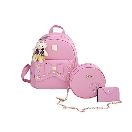 新品 Girls Cute Bow 3-piece Casual Backpack,Leather Crossbody Fashion Travel Bag Purse for Women (Pink)