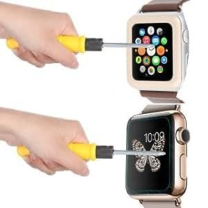 Moppi Enlace sueño templado vidrio pantalla cine con borde metálico cubierta completa para Apple Smart Watch (42mm de oro)