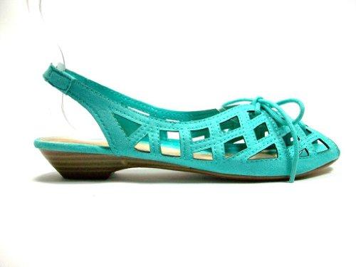 Nye Damene Mint Blue Suede Snøring Gladiator Caged Sandaler Flats Sko ...