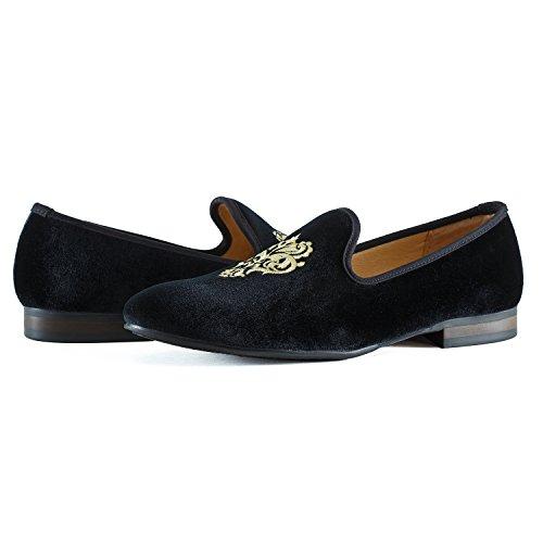Men Slipper Men's Men Embroidery Vine West Velvet Journey Shoes Noble Black Black Loafer Blue Loafer Slip Vintage on Smoking qwF8wAx6
