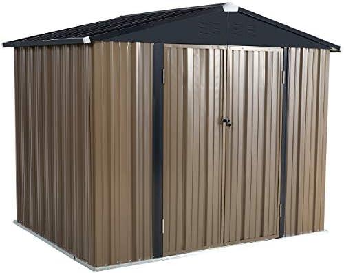 U-MAX 8' x 6' Outdoor Metal Storage Shed, Steel Garden Backyard Shed with Double Door & Lock