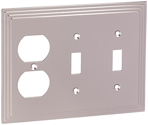 Amerelle Steps Double Toggle/Single Duplex Cast Metal Wallplate in Satin - Chrome Toggle Double