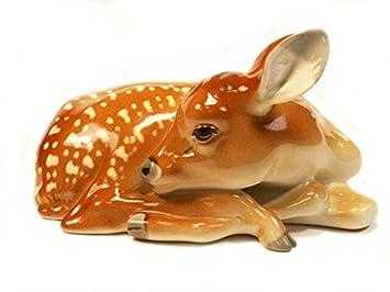 Fawn Baby Young Deer Sleeping Lomonosov Porcelain Figurine