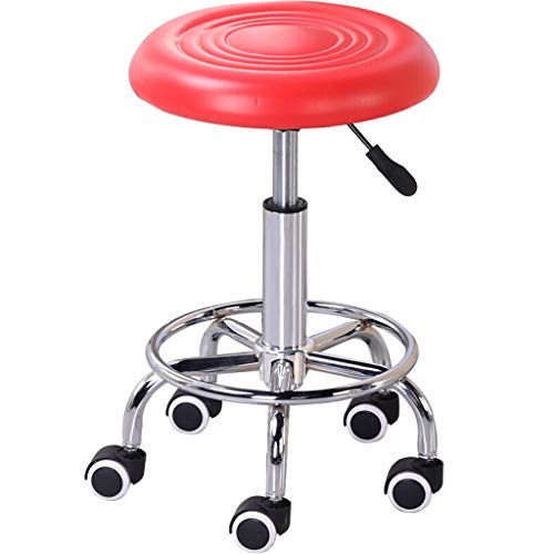 Lsxue Round Salon Massage Chair Adjustable Rotary Hydraulic Gas Lift Bar Stool Hairdressing Manicure Tattoo Therapy Beauty Massage Spa Salon Chair (Color : Red) (Paramount Ottoman)